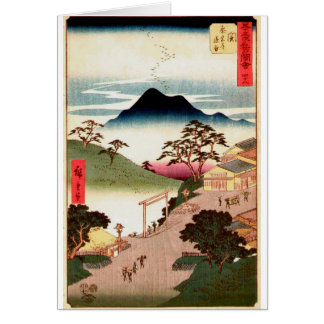 Japanese Village with Mountain Card