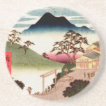 "Japanese Village with Mountain Coaster<br><div class=""desc"">Vintage woodblock illustration of Japanese village with mountain in the background.  Vintage rural Japanese life.</div>"