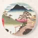 "Japanese Village with Mountain Coaster<br><div class=""desc"">Vintage woodblock illustration of Japanese village with mountain in the background.  Vintage rural Japanese life.</div>"