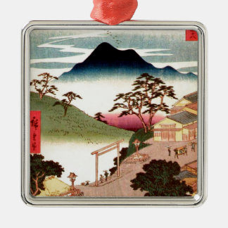 Japanese Village with Mountain Metal Ornament