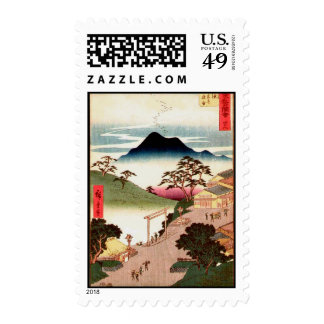Japanese Village with Mountain Woodblock Art Postage