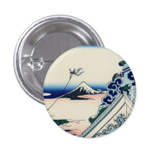 Japanese Vintage Art Fuji from Honganji Temple Pinback Button