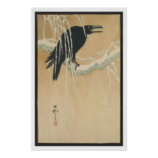 Japanese Vintage Art Image  of Black Crow in Snow Poster