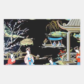 JAPANESE VINTAGE ART RECTANGULAR STICKER