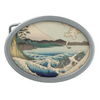 Japanese Vintage Art Sea of Satta Hiroshige Belt Buckles