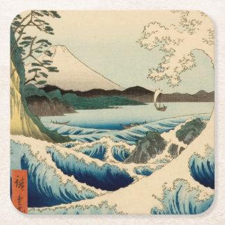 Japanese Vintage Art Sea of Satta Hiroshige Square Paper Coaster