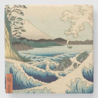 Japanese Vintage Art Sea of Satta Hiroshige Stone Coaster