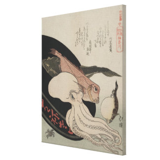 Japanese Vintage Art Seafood Bounty Gallery Wrapped Canvas