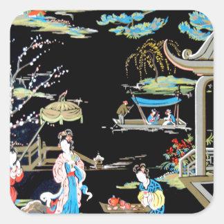 JAPANESE VINTAGE ART SQUARE STICKER