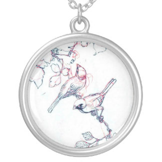 Japanese Vintage Bird Ink Painting Silver Plated Necklace