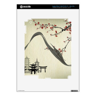 Japanese,vintage,cherry blossom,water colour,art, iPad 3 skins