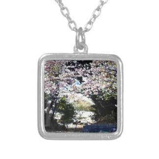 Japanese Vintage Cherry Blossoms Silver Plated Necklace