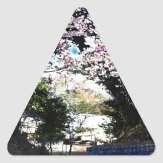 Japanese Vintage Cherry Blossoms Triangle Sticker