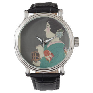Japanese Vintage Image of Woman and Firefly Cage Watch