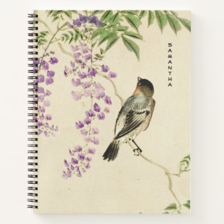 Japanese Vintage Lilac Sparrow Spiral Notebook