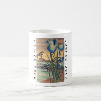 Japanese vintage ukiyo-e blue iris and bird scene coffee mug