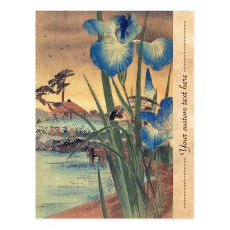 Japanese vintage ukiyo-e blue iris and bird scene postcards