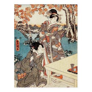 Japanese vintage ukiyo-e geisha old scroll postcard