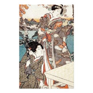 Japanese vintage ukiyo-e geisha old scroll stationery