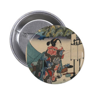 Japanese Vintage Ukiyo-e Lady Mountain Scene Button
