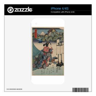 Japanese Vintage Ukiyo-e Lady Mountain Scene iPhone 4S Decal