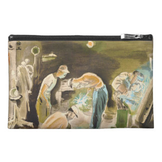 Japanese Vocations in Picturer, Welder watercolor Travel Accessory Bags
