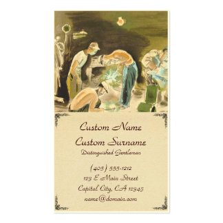 Japanese Vocations in Picturer, Welder watercolor Business Card