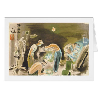Japanese Vocations in Picturer, Welder watercolor Card