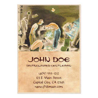 Japanese Vocations in Picturer, Welder watercolor Large Business Card
