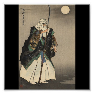 Japanese Warrior Painting. Circa 1922 Poster
