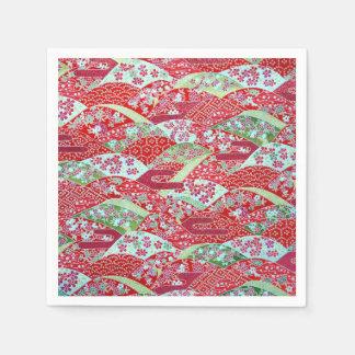 Japanese Washi Art Red Floral Origami Yuzen Paper Napkins