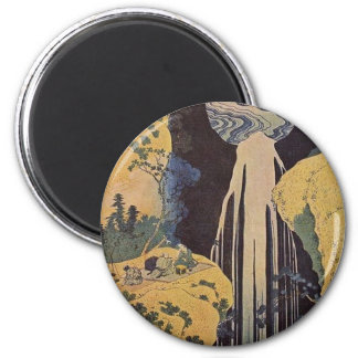Japanese Waterfall Print 2 Inch Round Magnet