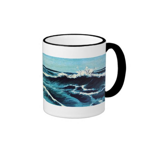 Japanese Wave Engraving Ringer Coffee Cup Zazzle