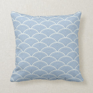 Japanese Wave Pattern Pillow in Light Blue