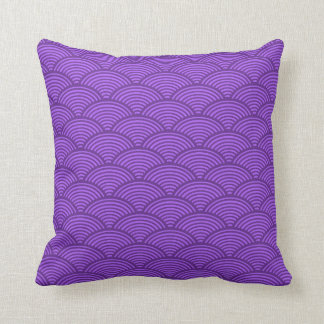 Japanese Wave Pattern Pillow Purple and Lavender