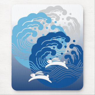 Japanese Wave & White Rabbit Mouse Pad