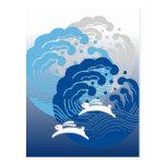 Japanese Wave & White Rabbit Postcard