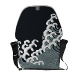 Japanese Waves in Black and Gray Messenger Bag