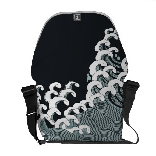 Japanese Waves in Black and Gray Commuter Bags