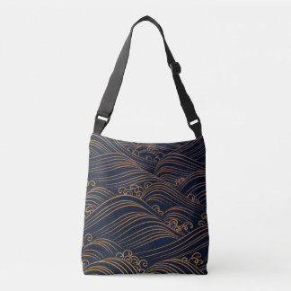 Japanese Waves Pattern Dark Blue and Gold Crossbody Bag