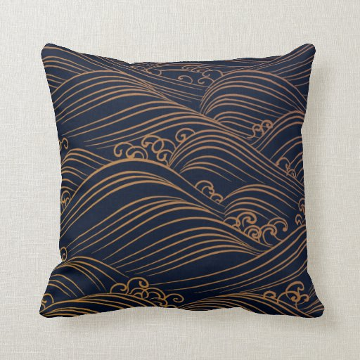 Japanese waves pattern dark blue and gold throw pillows for Blue and gold pillows