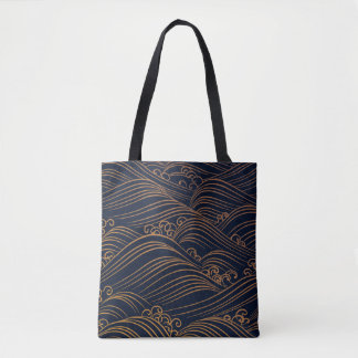 Japanese Waves Pattern Dark Blue and Gold Tote Bag