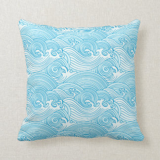 Japanese Waves Pattern in Ocean Colors Throw Pillow