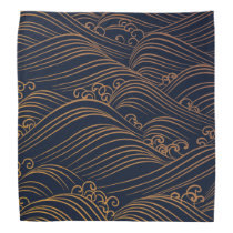 Japanese Waves Pattern Navy Blue and Gold Brown Bandana