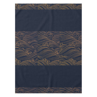 Japanese Waves Pattern Navy Blue and Gold Brown Tablecloth