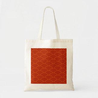 Japanese waves red orange yellow tote bag