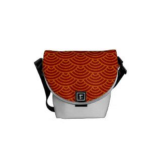 Japanese waves red orange yellow messenger bag