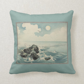 Japanese Waves Throw Pillow
