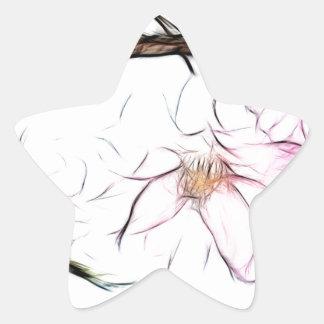 Japanese Weeping Cherry Blossom Fractal Art Star Sticker
