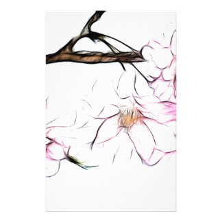 Japanese Weeping Cherry Blossom Fractal Art Stationery
